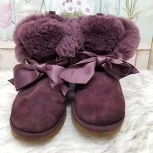 UGG winter boots with front bows burgundy